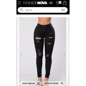 Fashion Nova Black Ripped Jeans, size 7